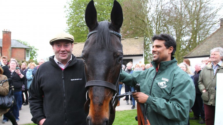 Nicky Henderson, Sprinter Sacre and his groom Sarwar enjoying Lambourn Open Day