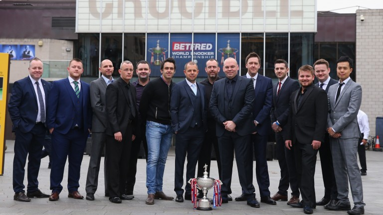 Players pose outside the Crucible