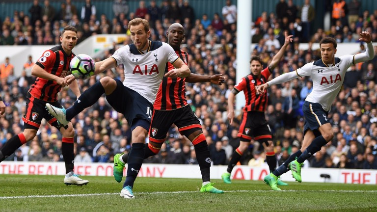 Harry Kane shoots against Bournemouth