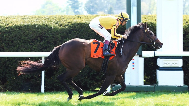 Lady Aurelia (John Velazquez) makes a winning three-year-old debut at Keeneland to set herself up for a return visit to Royal Ascot