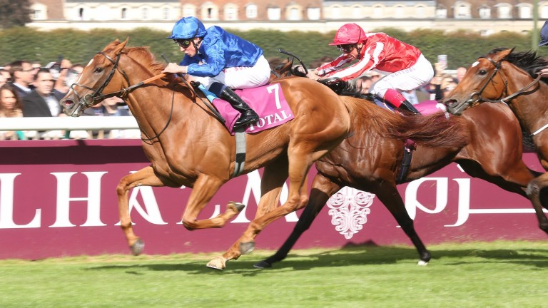 Dabyah (right) ran a race full of Derby promise for John Gosden when second to the now-sidelined Wuheida in the Prix Marcel Boussac