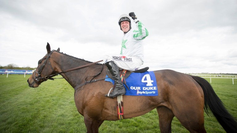Robbie Power celebrates Our Duke's Irish Grand National victory