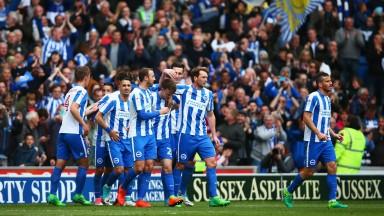 Brighton celebrate against Wigan