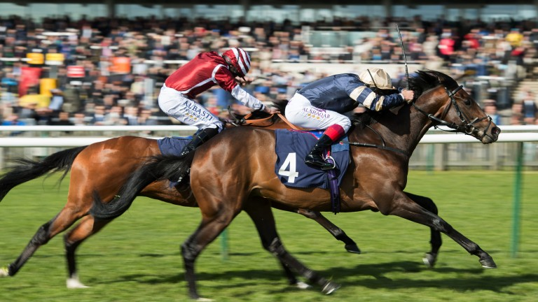 Dettori drive: Khalidi (right) responds to the urgings of Frankie Dettori to deny Salouen and Ryan Moore in   the Listed Feilden Stakes
