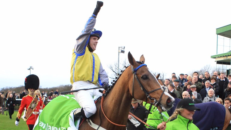 Jason Maguire celebrating Overturn's triumph in the Fighting Fifth