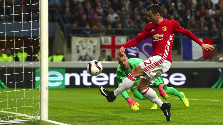 Henrikh Mkhitaryan nets Manchester United's goal in the first leg