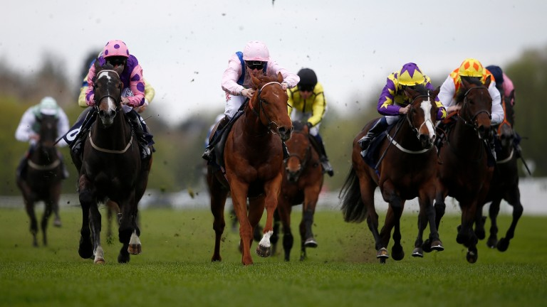 WINDSOR, ENGLAND - APRIL 10:  Jamie Spencer riding Rock Of Estonia (C, pink) win The EBF Racing Welfare Novice Stakes at Windsor Racecourse on April 10, 2017 in Windsor, England. (Photo by Alan Crowhurst/Getty Images)
