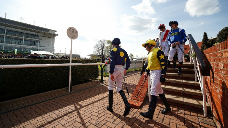 Here they come: jockeys make their way out to the parade ring