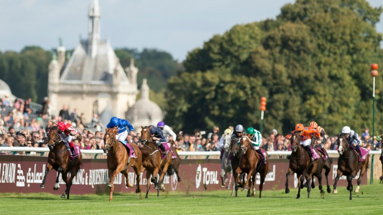Senga (far right, white face) storms home to be fourth in the Prix Marcel Boussac