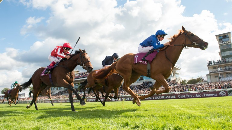 Dabyah and Frankie Dettori (red silks) chase home Wuheida in the Prix Marcel Boussac at Chantilly last October