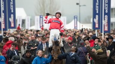 Nico de Boinville and Coneygree after the Cheltenham Gold Cup Cheltenham 13.3.15 Pic: Edward Whitaker