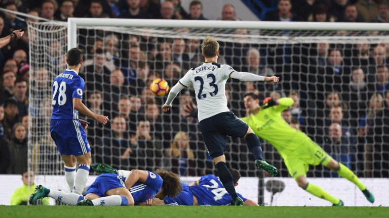 Christian Eriksen scores for Spurs at Chelsea