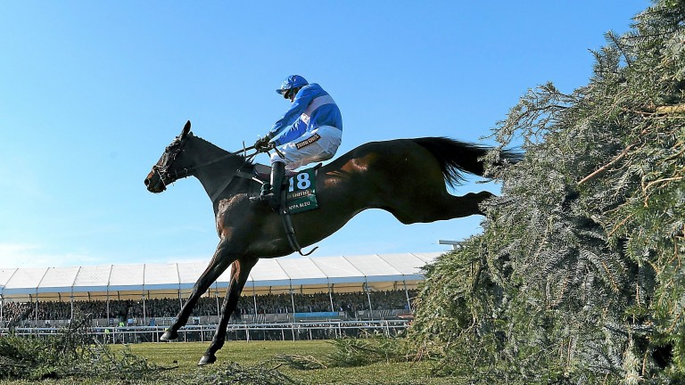 Paul Moloney and Cappa Bleu jump the last on the way to finishing second in the 2013 Grand National