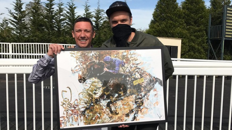 Frankie Dettori with Endless and the one-off artwork, which has an estimated value of £20,000