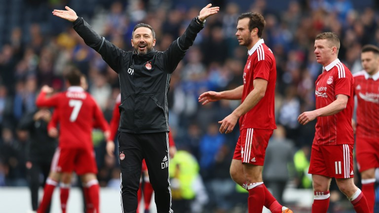 Aberdeen boss Derek McInnes and his team could be celebrating