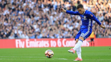 Chelsea's Eden Hazard scores against Tottenham at Wembley