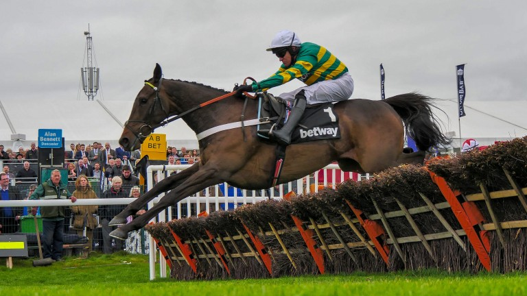 Buveur D'Air on his way to victory in the Aintree Hurdle