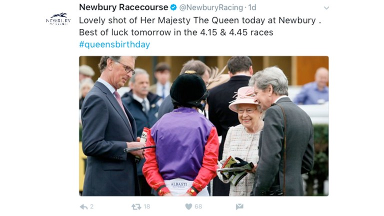 The Queen at Newbury tweet