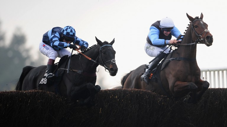 Sir Valentino and Adrian Heskin (right) on the way to victory in last year's Haldon Gold Cup