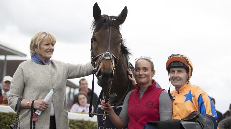 Jessica Harrington in the winner's enclosure with Torcedor at Navan
