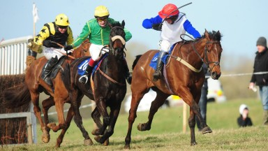 Patrick Turley (red cap): wins a four-year-old maiden on Pride Of Lecale at The Pigeons in 2015