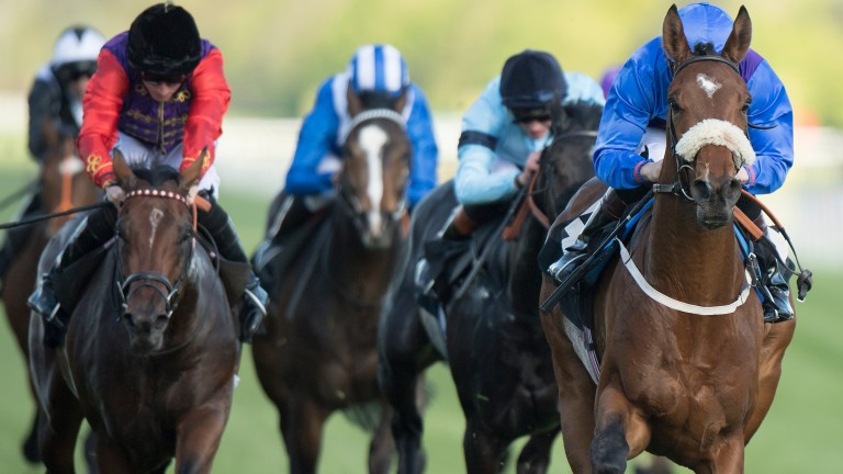 Duke Of Bronte (Ryan Tate, right) sprang a 100-1 shock in a maiden at Newbury last month
