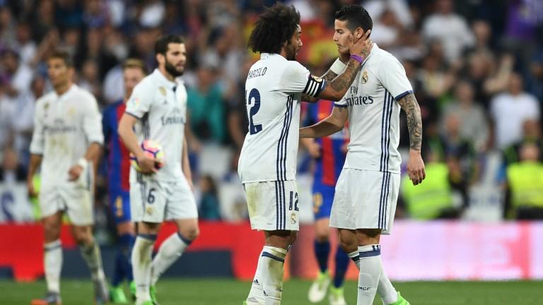 Real Madrid celebrate a James Rodriguez goal