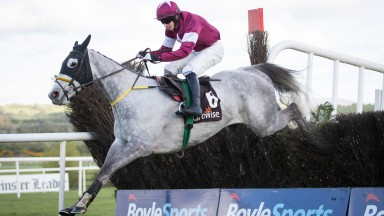 Disko jumps the last en route to a fine success in the Growise Novice Chase