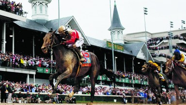 LOUISVILLE, KY - MAY 04:  Joel Rosario atop Orb on his way to winning the 139th running of the Kentucky Derby at Churchill Downs on May 4, 2013 in Louisville, Kentucky.  (Photo by Rob Carr/Getty Images)