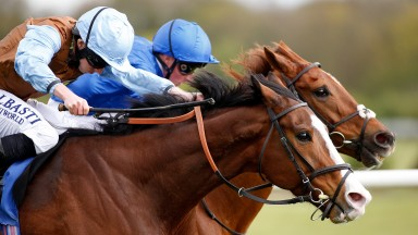 NOTTINGHAM, ENGLAND - APRIL 12:  Ryan Moore riding George William (L) win The totepool Racecourse Debit Card betting Available Handicap Stakes from G K Chesterton (R) at Nottingham Racecourse on April 12, 2017 in Nottingham, England. (Photo by Alan Crowhu