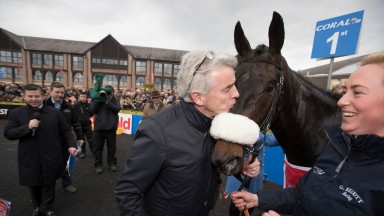 Michael O'Leary kisses Champagne Classic after his Grade 1 victory.Punchestown Festival.Photo:Patrick McCann 26.04.2017
