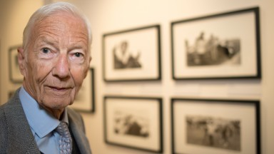 Lester Piggott in the Gods of Sport exhibition room at the Heritage Centre to celebrate the 60th anniversary since his first classic winner on Crepello in the 2000 GuineasNewmarket 24.4.17 Pic: Edward Whitaker