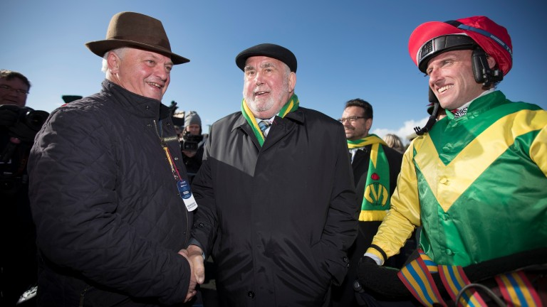 Colin Tizzard (left), owner Alan Potts and Robbie Power are all smiles after Fox Norton's Champion Chase success