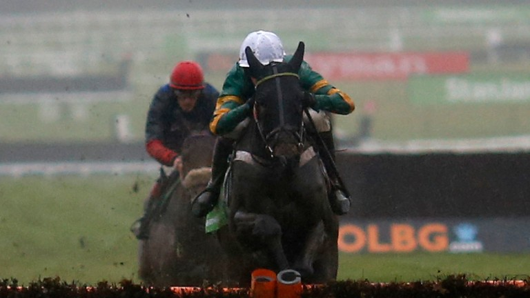 CHELTENHAM, ENGLAND - DECEMBER 10: Richard Johnson riding The New One (L) clear the last to win The International Hurdle Race from My Tent Or Yours (R) at Cheltenham Racecourse on December 10, 2016 in Cheltenham, England. (Photo by Alan Crowhurst/Getty Im