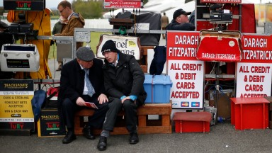 NAAS, IRELAND - APRIL 27: Bookmakers at Punchestown racecourse on April 27, 2017 in Naas, Ireland. (Photo by Alan Crowhurst/Getty Images)