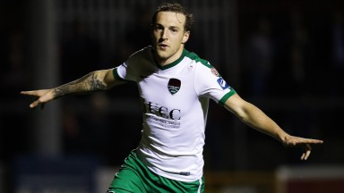Cork City's Karl Sheppard celebrates scoring a goal