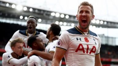 Harry Kane celebrates scoring for Tottenham at Arsenal's Emirates Stadium on November 6, 2016