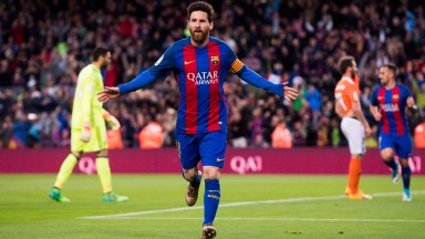 Lionel Messi celebrates a goal in midweek against Osasuna