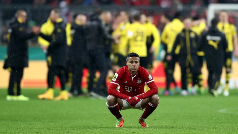 Thiago Alcantara takes in Bayern's cup semi-final defeat to Dortmund