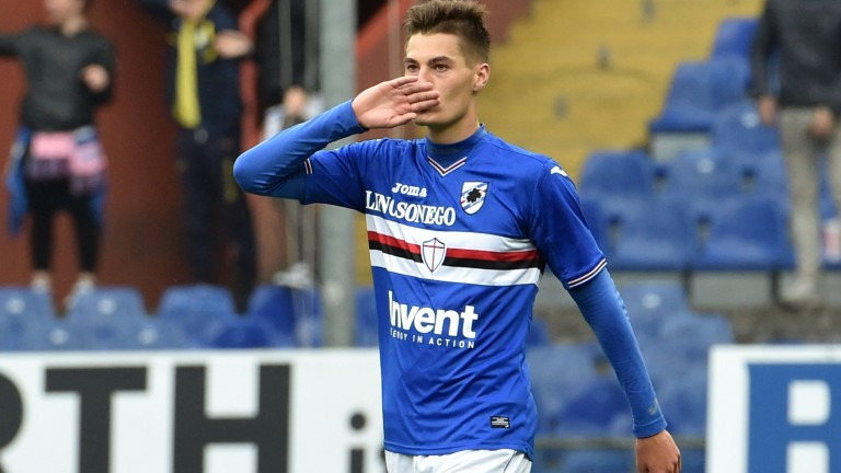 Patrik Schick celebrates after scoring for Sampdoria against Crotone