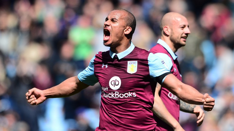 Aston Villa's Gabby Agbonlahor celebrates his goal against Birmingham