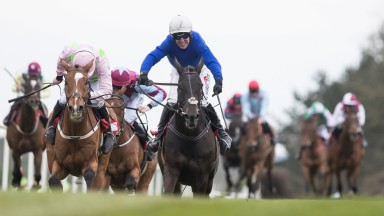 Woodland Opera and Robbie Power in full cry at the end of the EMS Copiers Handicap Chase