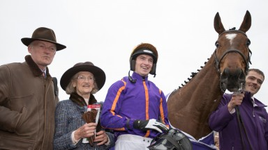 Wicklow Brave and Patrick Mullins after winning the Betdaq Champion Hurdle.Punchestown Festival.Photo:Patrick McCann 28.04.2017