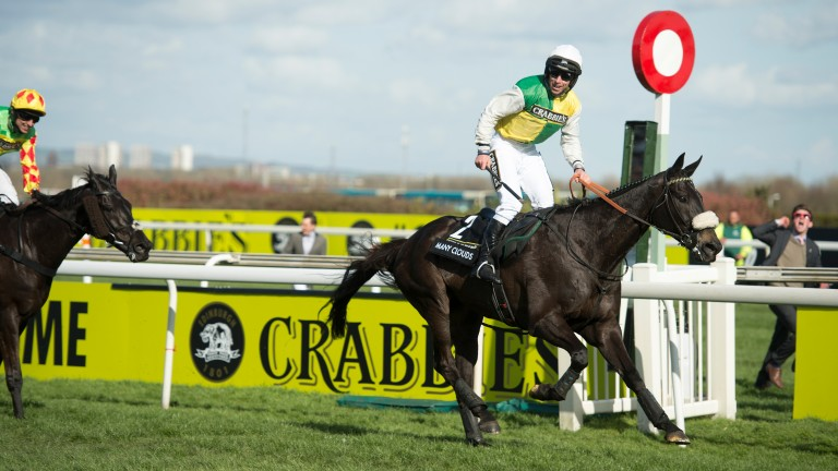 Many Clouds, in the colours of Trevor Hemmings, wins the 2015 Grand National at Aintree