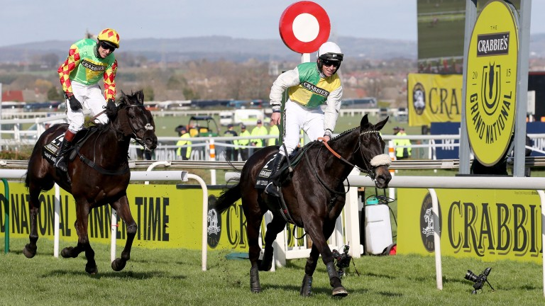 Many Clouds winning the 2015 Grand National under Leighton Aspell