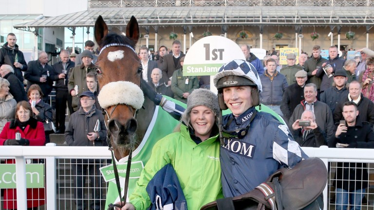Happy days: in the winner's enclosure with Irving after the Fighting Fifth