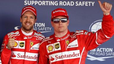 Ferrari drivers Sebastian Vettel (left) and Kimi Raikkonen will start from the front row in Sochi