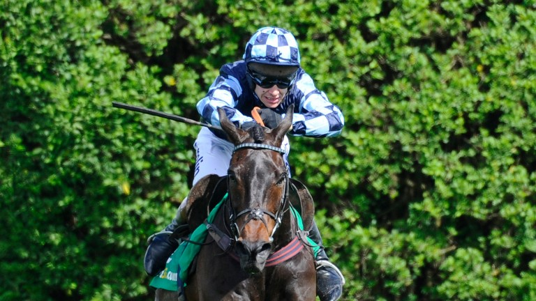 How it all began: Menorah lands his first win in the Oaksey Chase in 2014