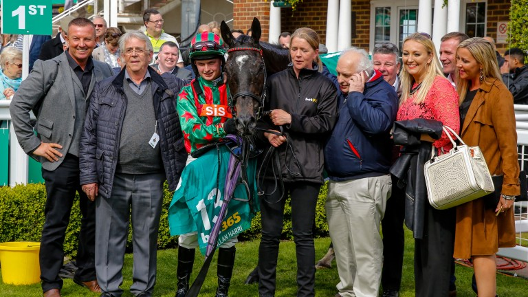 Proud moment: connections in the Sandown winner's enclosure after Henllan Harri's suprise win