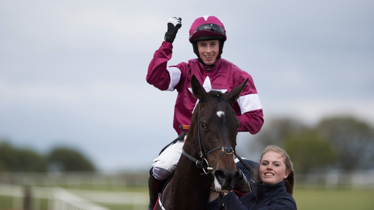 Punching the air: Bryan Cooper celebrates following Apple's Jade's triumph in the Grade 1 Irish Stallion Farms EBF Mares Champion Hurdle